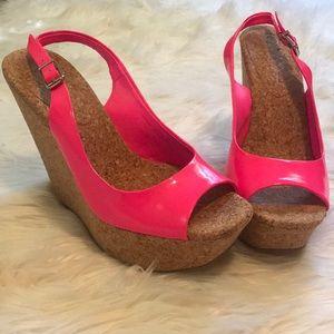 Jessica Simpson Neon Pink Wedges
